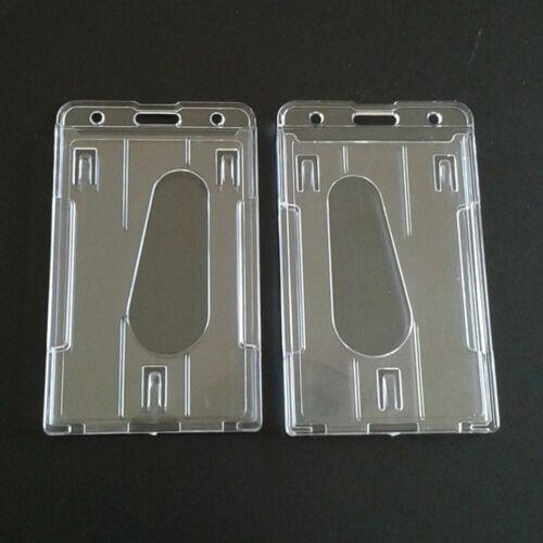 UK Multi-use Badge Hard Plastic Work Card Holder Double Side ID Card Case
