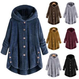 Winter-Womens-Warm-Fluffy-Coat-Overcoat-Button-Jacket-Tops-Outwear-Loose-Sweater