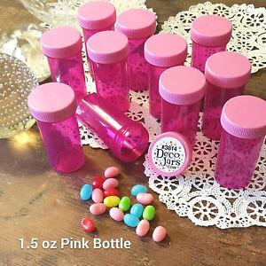 4-HardToFind-PINK-Pill-Bottles-Screw-Cap-JARS-3814-Container-1-5oz-USA-DecoJars