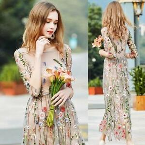 Details About Womens Embroidered Lace Floral Long Sheer Mesh Cocktail Evening Party Maxi Dress
