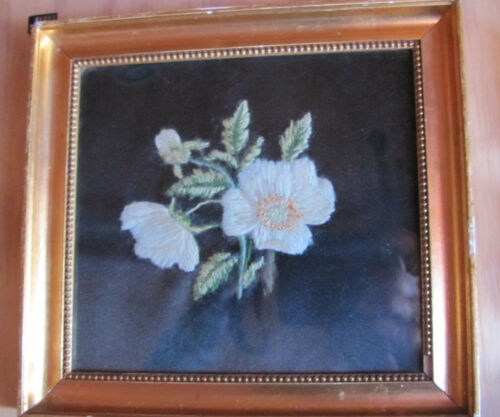 Gold Framed finished Crewel Embroidery black background Flowers Denmark Vintage