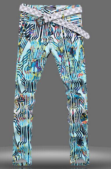 Mens Rivet Floral Printed Night Club Trousers Fashion Stud Long Punk Pants C272