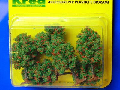 Soleggiato Alberi Per Modellismo Verdi Con Fiori Rossi 6 Pz. H.cm. 6,5 Ho - 1:87 Krea