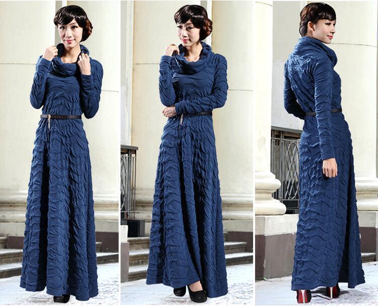 New Womens Winter Long Sleeve Long Dresses Maxi Dance Skirt Party Stylish Size