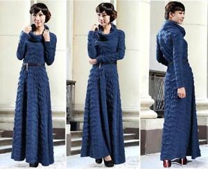 New-Womens-Winter-Long-Sleeve-Long-Dresses-Maxi-Dance-Skirt-Party-Stylish-Size