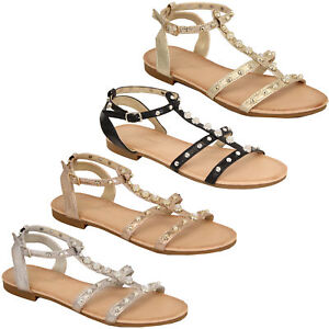 Details about Ladies Flat Sandals Womens Pearl Open Toe Buckle Shoes Fashion Summer Party New