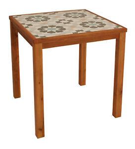 Gartentisch Holztisch Gartenmobel Tisch Holz Keramik Santa Clara 65x65cm Braun Ebay