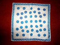 Wunderschönes Seidentuch Weiß-Blau getuptt große u.kleine Tupfen 50x50 cm TOP!