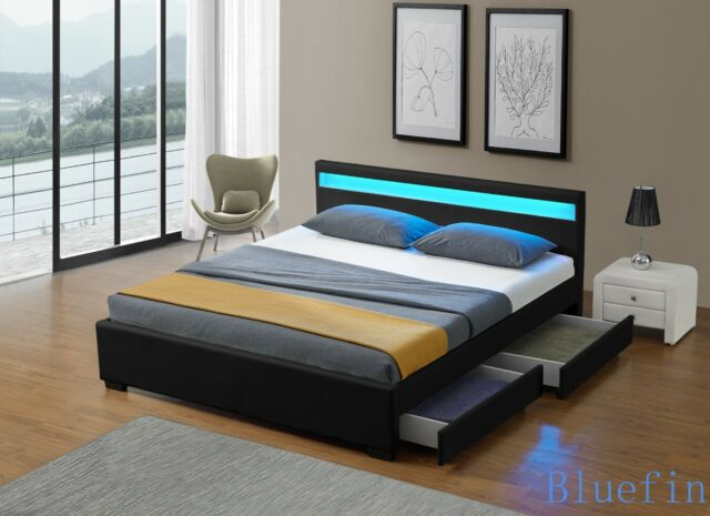 new concept 345a9 d1081 Black Leather Bed Frame With LED Headboard Light 4 Drawers