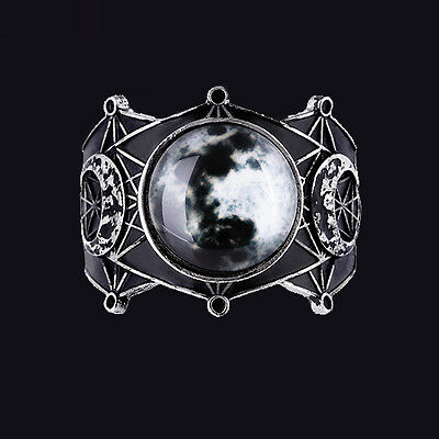 RESTYLE MOON GEOMETRY BRACELET. WIDE FULL MOON CUFF/BANGLE. LUNAR CYCLE. WITCH