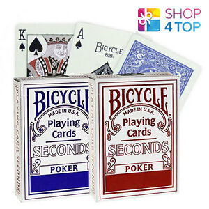 2-DECKS-OF-BICYCLE-SECONDS-PLAYING-CARDS-STANDARD-MAGIC-TRICKS-1-RED-1-BLUE-NEW