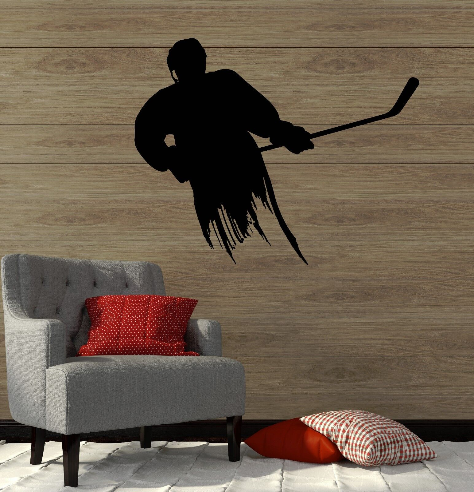 Wall Decal Ice Hockey Player Sports Fan Boys Room Vinyl Stickers (ig3010)