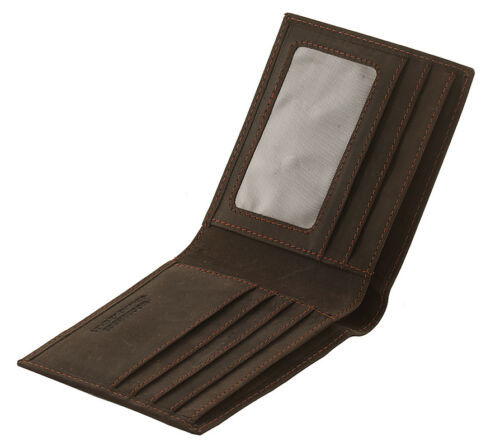 Woodbridge RFID Blocco vera pelle effetto anticato Hunter Bifold Wallet 4049 Brown
