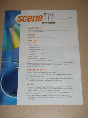 Game Instructions ONLY For The Scene IT? The Premier Movie Board Game