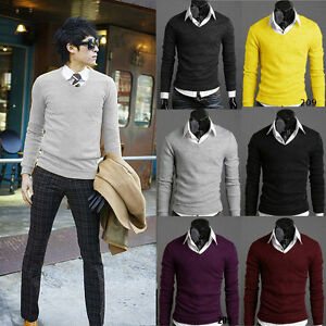 Men-Warm-V-Neck-Knitted-Sweater-Long-Sleeve-Jumper-Pullover-Slim-Fit-Tops-Autumn