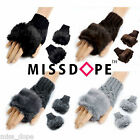 NEW FUR KNITTED FINGERLESS MITTENS WINTER WARM GLOVES WOOL WRIST WOMEN LADIES UK