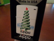 MERRY CHRISTMAS & HAPPY NEW YEAR TREE WHITE MATTE ZIPPO LIGHTER MINT 2014