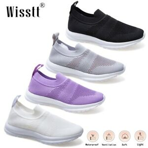 Womens Walking Lightweight Athletic Knit Sneakers Flat Gym Casual Sports Shoes 8