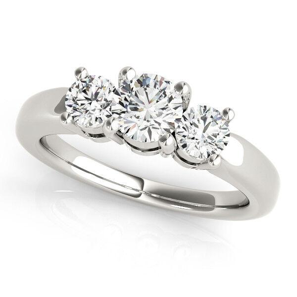 1.00 Ct VVS1 D Round Cut Lab Diamond Engagement Ring 14K White gold Size 6 7