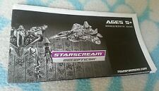 Transformers ROTF VOYAGER STARSCREAM INSTRUCTION BOOKLET ONLY