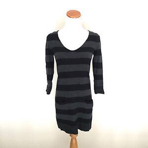 Women-039-s-Express-Gray-amp-Black-Striped-Long-Sweater-Dress-Size-XS