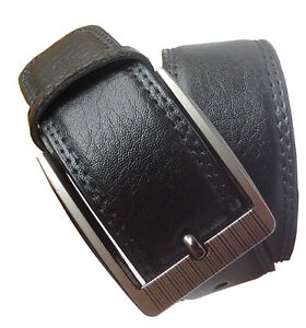 Non leather men black pin buckle belt with self textured