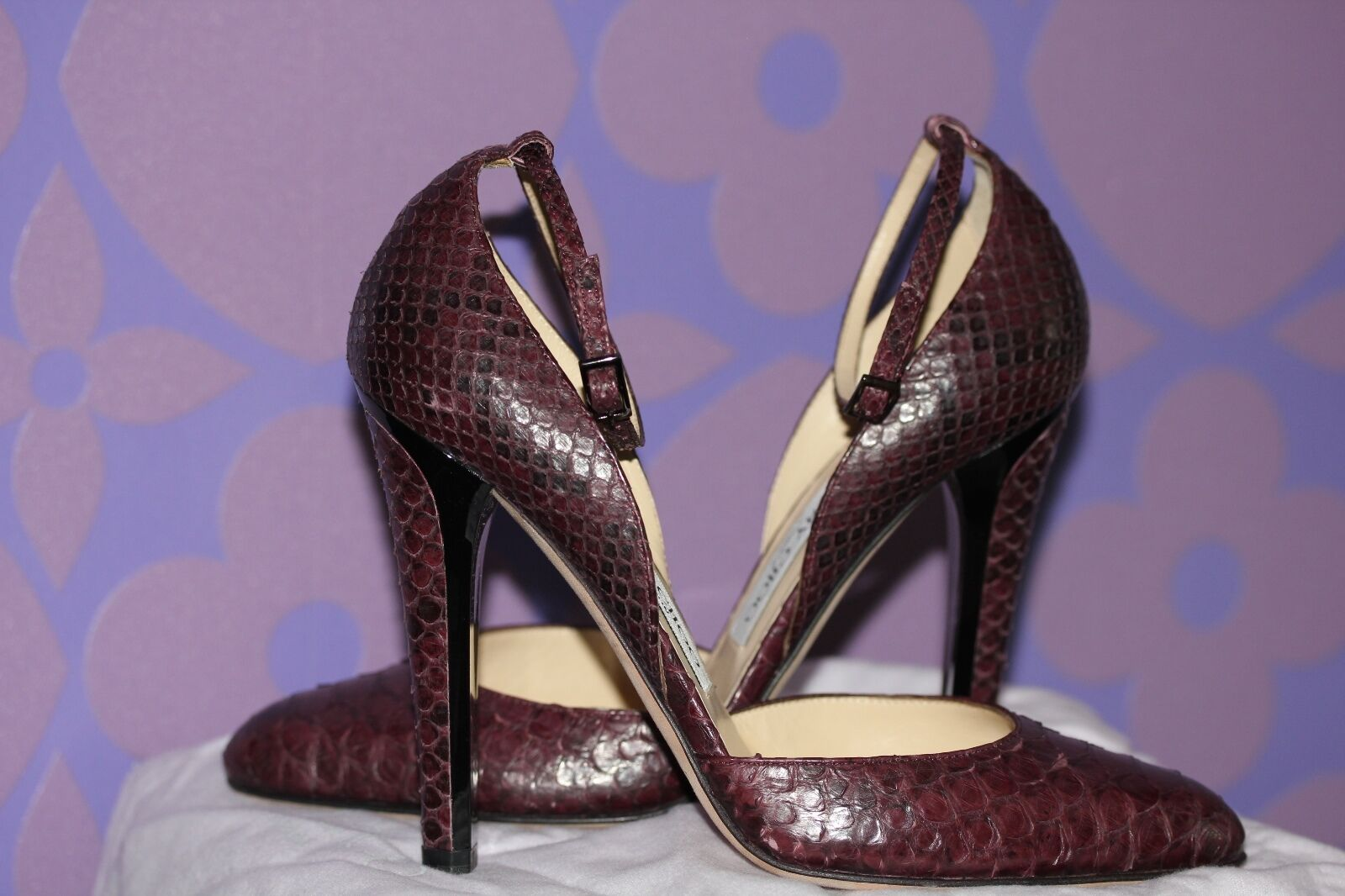 JIMMY CHOO Python Snakeskin Mary Jane Bordeaux Nice Holiday Heels Limited  1k+