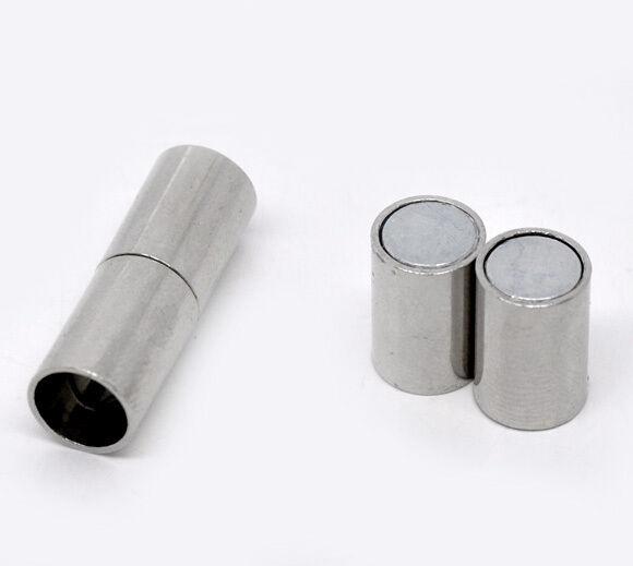 10 Sets Silver Tone Barrel Magnetic Clasps 24x8mm