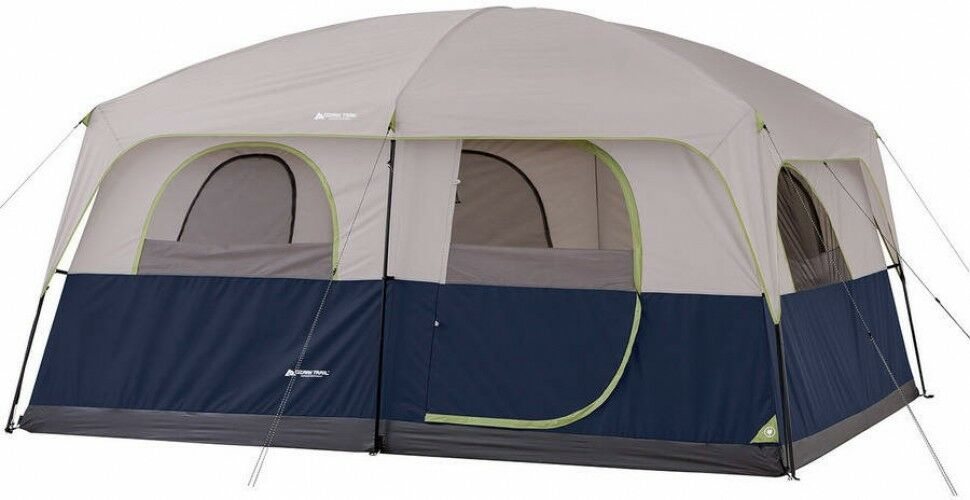 Outdoor Camping 2 Room Trail 14 X 10 Family Cabin Tent, Sleeps 10 Gris blu