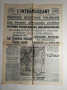 N229-La-Une-Du-Journal-l-039-intransigeant-3-septembre-1939-groupe-allemand-arretee