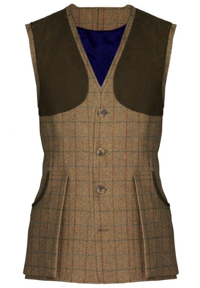 Laksen Esk Tweed Shooting Vest Waistcoat Size XXL