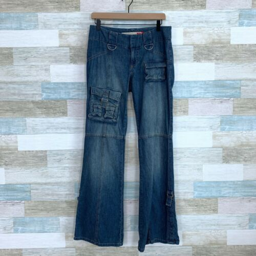 Guess Vintage 90s Cargo Flare Wide Leg Jeans Mid R