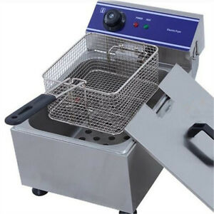 10L Electrical Deep Fryer Commercial Basket Stainless Steel Tank Fat Chip 6L Oil