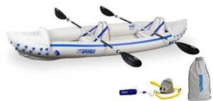 Sea Eagle 370 Pro 3 Person Inflatable Kayak Canoe Boat w/ Paddles (Open Box)