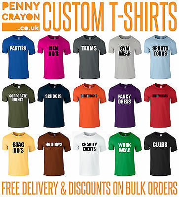 CUSTOM PERSONALISED PRINTED T-SHIRTS - STAG HEN CHARITY CLUB GYM SPORT WORKWEAR