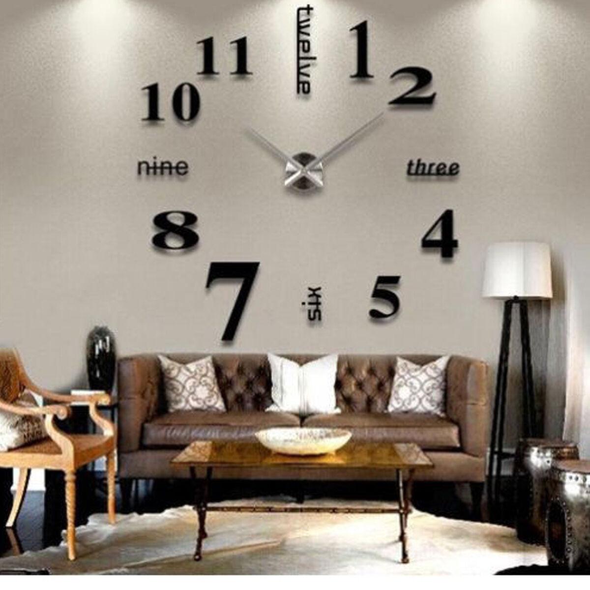 3D Large Wall Clock Mirror Sticker Big Watch Home Decor Unique Gift DIY