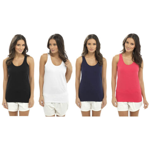 Ladies Womens Cotton Jersey Broad Strap Vest 10 12 14 16 Gym Summer Winter Tops