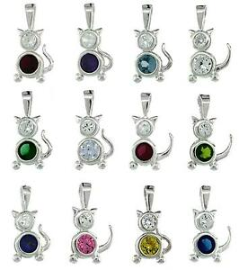 Sterling Silver Birthstone Baby Boy Pendant Charm w//Colored Cubic Zirconia Stone