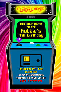 Arcade Machine Personalised Birthday Party Invitations A6