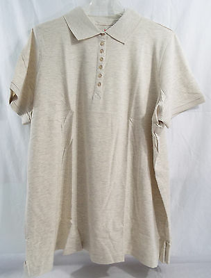 Womens Plus Size Polo Shirt Short Sleeve in Heathered Oatmeal 1X