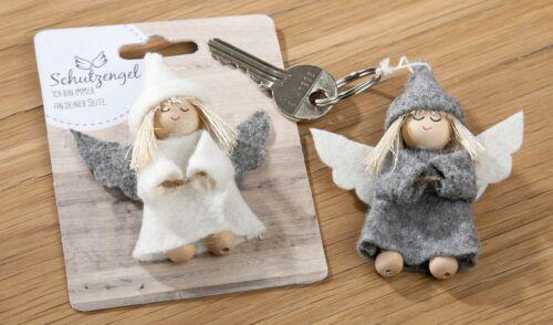 Schlüsselanhänger Schutzengel Filz Holz Engel Metall 22709 Geschenk Grau