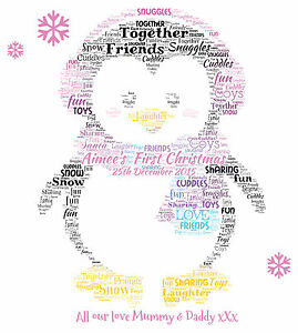 baby s 1st christmas personalised penguin word art print boy or