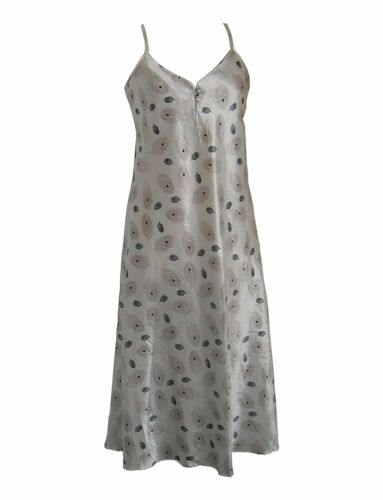 Ladies Long Silver Autumn Leaves Chemise with Spaghetti Straps Sizes 8-12