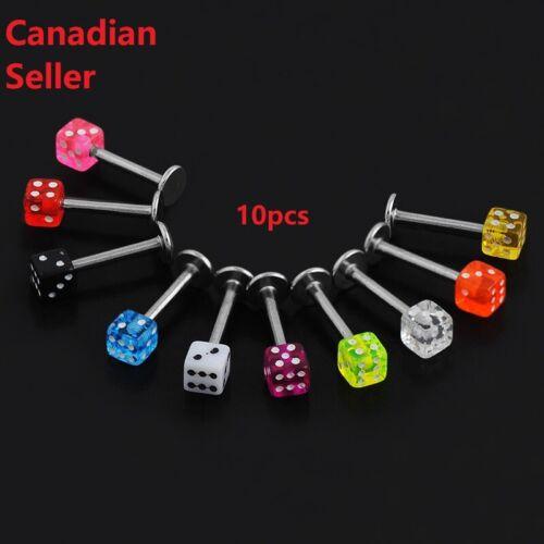 10pcs Dice Lip Rings Tragus Ear piercing Body Jewelry trend punk labret rings