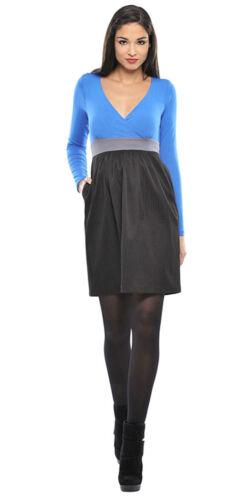 OLIAN Maternity Women/'s Blueberry Contrast Skirt V-Neck Babydoll Dress $148 NWT