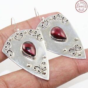 Solid-925-Sterling-Silver-Garnet-Gemstone-Earring-Handmade-Jewelry-Size-2-034