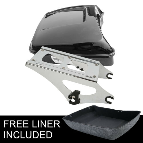 Chopped Tour Pak Pack Trunk /& Chrome Mounting Rack For Harley Touring 2014-2019