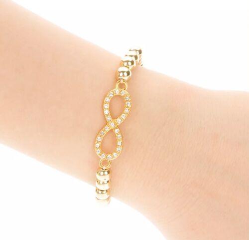 Armband Strass Gold silber Glitzer Perlen Unendlich Liebe Freundschaft Love