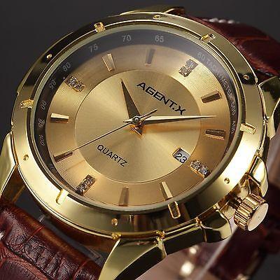AgentX Man's Gold Steel Quartz Date Brown Leather Band Mens Men Wrist Watch