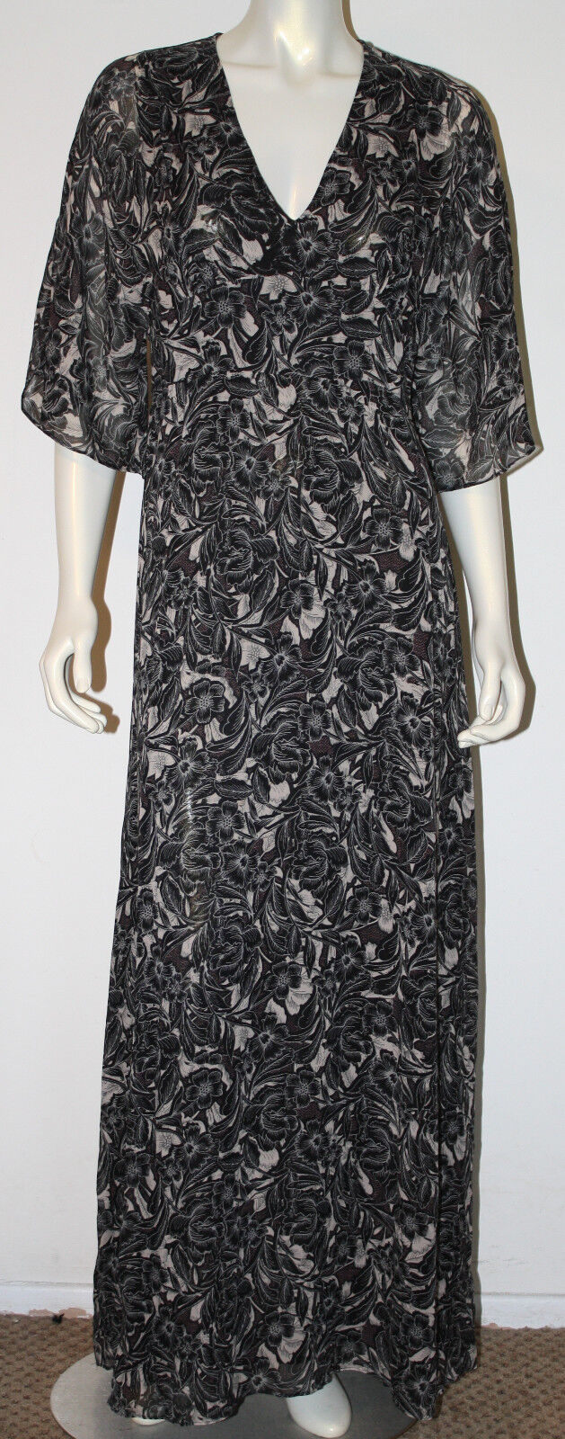 HINGE schwarz Weiß Rosa Floral Silk Long Maxi Dress S SS Tie Back NWOT